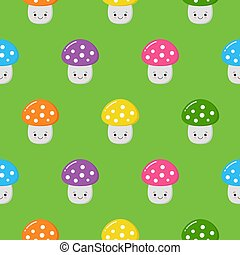 Seamless pattern with colorful cute mushrooms. Autumn background. Perfect for fabric, textile. Creative Vector background