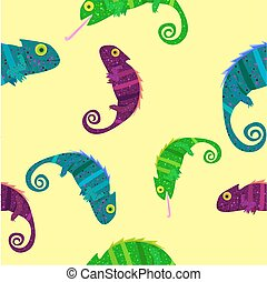 Seamless pattern with colorful chameleons on yellow background