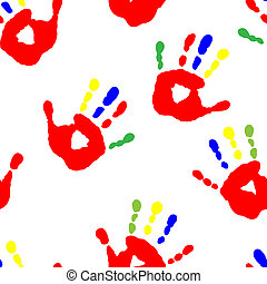 Seamless pattern with colorful fingers