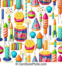 Seamless pattern with colorful fireworks. Different types of...