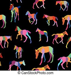Seamless pattern with colorful foals on black background