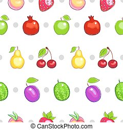 Seamless pattern with colorful fruit. Vector background.