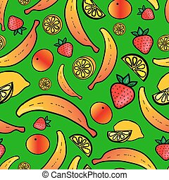 Seamless pattern with colorful fruit