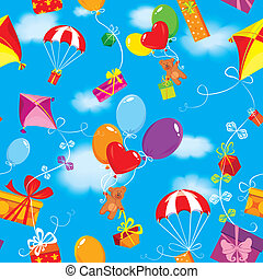 Seamless pattern with colorful gift boxes, presents, balloons, kite, parachute and teddy bears on sky blue background with clouds.