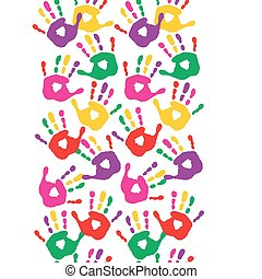 Seamless pattern with colorful handprints