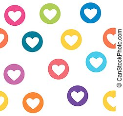 Seamless pattern with colorful hearts circles. Hearts wallpaper