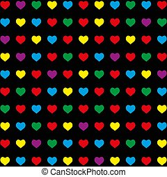 seamless pattern with colorful hearts on black background.
