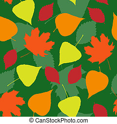 Seamless pattern with colorful leaves