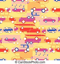seamless pattern with colorful little cars