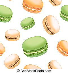 Seamless pattern with colorful macaroon cookies on white background.