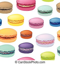 Seamless pattern with colorful macaroon cookies.