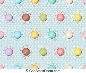 Seamless pattern with colorful macaroons, Macarons background