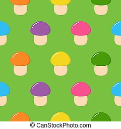 Seamless pattern with colorful mushrooms. Autumn background. Perfect for fabric, textile. Creative Vector background