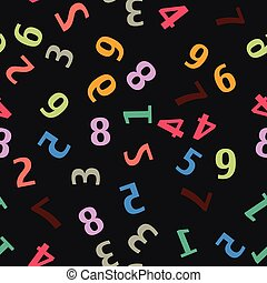 Seamless pattern with colorful numbers. Vector.