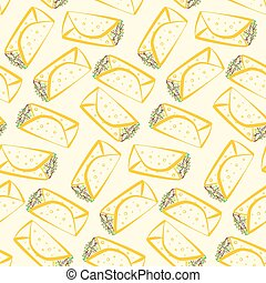 Seamless pattern with colorful outline burritos