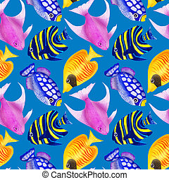 Seamless pattern with colorful watercolor fishes. Hand-drawn watercolour elements. Sea life.