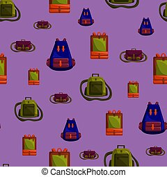 Seamless Pattern with Colorful School Bag Vector