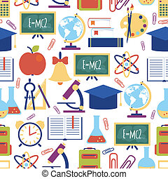 seamless pattern with colorful school icons