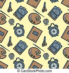 seamless pattern with colorful school icons on yellow Flat design Vector
