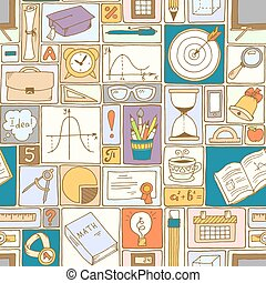 Seamless pattern with colorful school icons. Teacher day background.