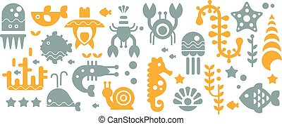 Seamless pattern with colorful sea creatures, yellow and gray underwater animals, vector illustrations