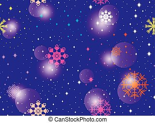 Seamless pattern with colorful snowflakes. Winter abstract background. Bokeh effect. Vector illustration