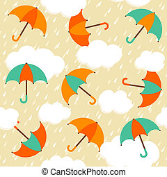 Seamless pattern with colorful umbrellas