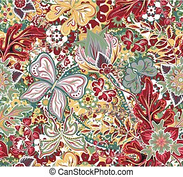 Seamless pattern with colorful vintage butterflies, flowers and hearts. Vector illustration.