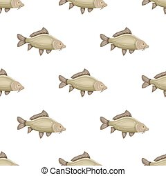 Seamless pattern with common carp isolated on white background. Fresh raw fish - vector illustration. Design element for print