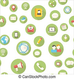Seamless pattern with communication icons