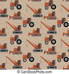 Seamless pattern with Construction vehicles set of Crane, Bulldozer and Tractor in flat design.
