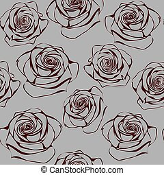 Seamless pattern with contour dark red roses on grey background
