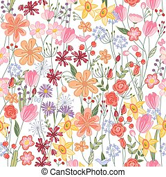 Seamless pattern with contour summer flowers