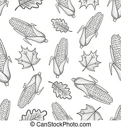 Seamless pattern with corn and leaves
