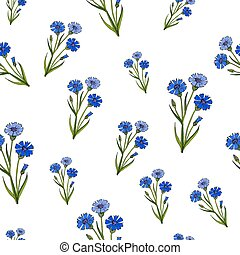 Seamless pattern with cornflowers
