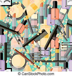 Seamless pattern with cosmetic products