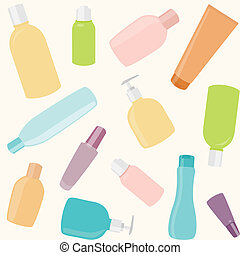 Seamless pattern with cosmetics bottles