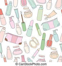 Seamless pattern with cosmetics, creams, lotions.