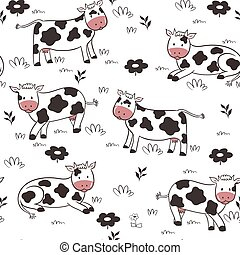 Seamless pattern with cows on a white background. Vector graphics.