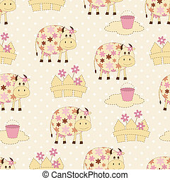 seamless pattern with cows