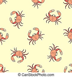 Seamless pattern with crab
