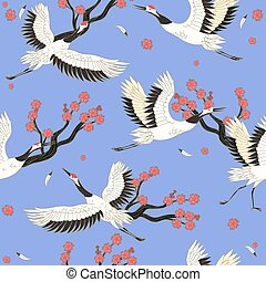 Seamless pattern with cranes birds and sakura. Vector graphics