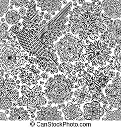 Seamless pattern with creative bird