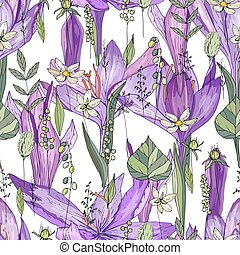 Seamless pattern with crocus and herbs. Endless texture for your design