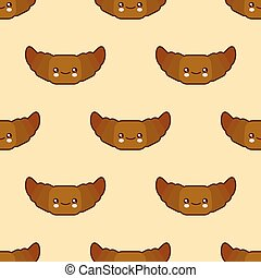 Seamless pattern with croissant cute fast food kawaii characters on white background. Flat design Vector