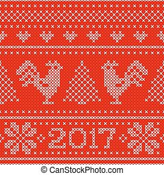 Seamless pattern with cross stitch embroidered roosters and text 2017.