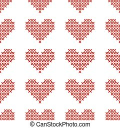 Seamless pattern with cross-stitch hearts. Embroidery style.