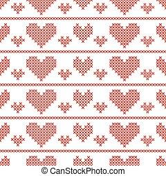 Seamless pattern with cross-stitch hearts