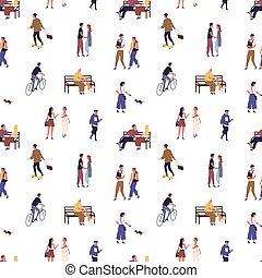 Seamless pattern with crowd of people walking on the city street. Scene of recreation and rest outside. Characters sit on benches, skateboarding, cycling, talking. Flat vector cartoon illustration