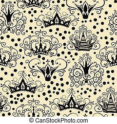Seamless Pattern with Crowns in doodle style